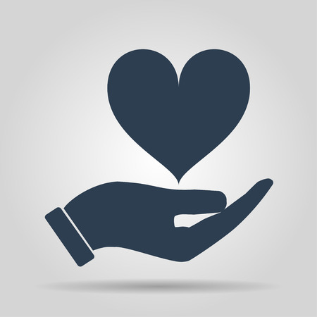 Vector icon - hands holding heart. Flat design style Vector