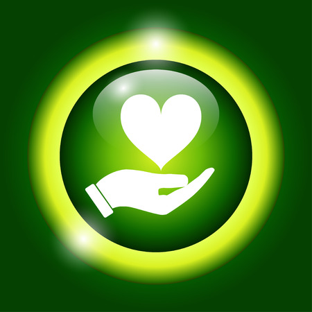 beloved: Vector icon - hands holding heart. Flat design style