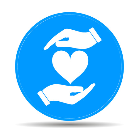 devotion: Vector icon - hands holding heart. Flat design style