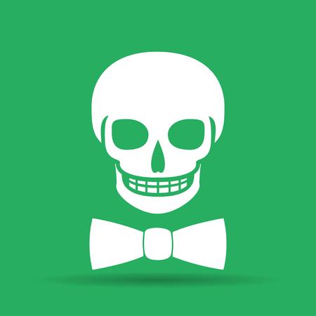 Skull icon isolated, tie. Flat vector illustrator Eps Vector