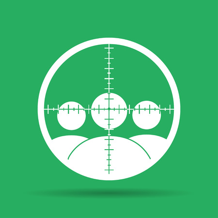 sniper crosshair: Sight device icon. Flat design style modern vector illustration.