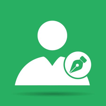Ink pen User icon. Flat  illustrator Eps