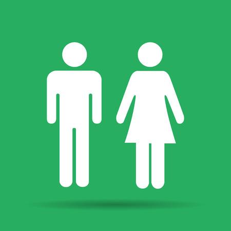 simbolo de la mujer: Vector hombre y mujer iconos, muestra del tocador, icono baño, estilo minimalista, pictograma