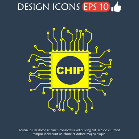 circuitry: Vector chip icon, isolated vector eps 10 illustration