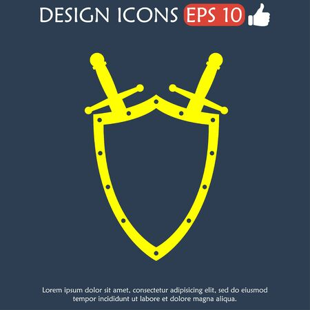Sword and shield icon, isolated vector eps illustration Vector