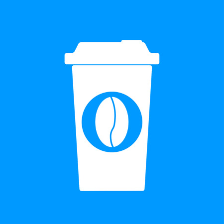 long beans: paper coffee cup. Flat design style   Illustration