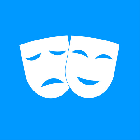 happy sad: Theater icon with happy and sad masks. VECTOR illustration.