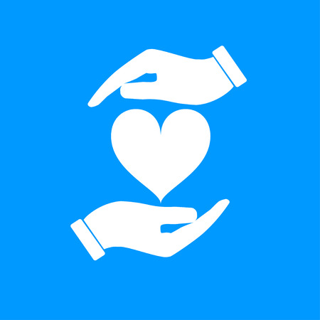 hold hands: Vector icon - hands holding heart. Flat design style