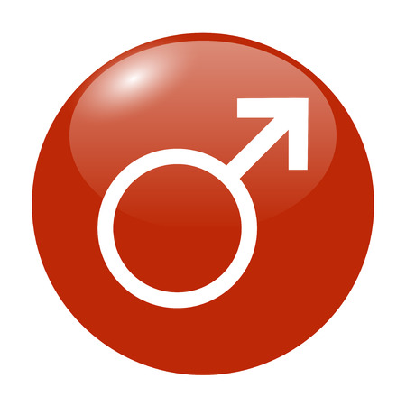 nude male: Male sign icon. Male sex button. Circle flat button with shadow.