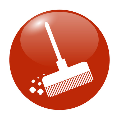 dustpan: Broom vector icon Flat design style