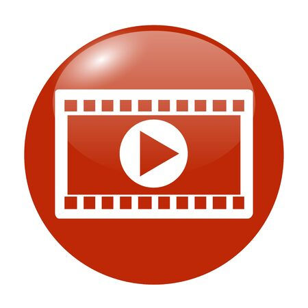 computer button: Video icon. Flat design style. Vector EPS 10 Illustration