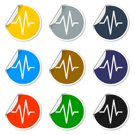 pulsating: Heart beat, Cardiogram, Medical icon - Vector. Flat design style eps 10