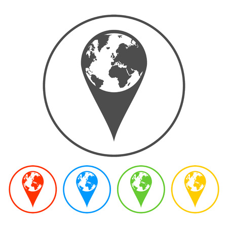 Pictograph of globe. Map pointer. Illustration vector EPS 10 Illustration
