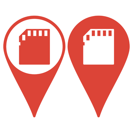 sd card: Map pointer. Micro sd card. Flat design style eps 10 Illustration