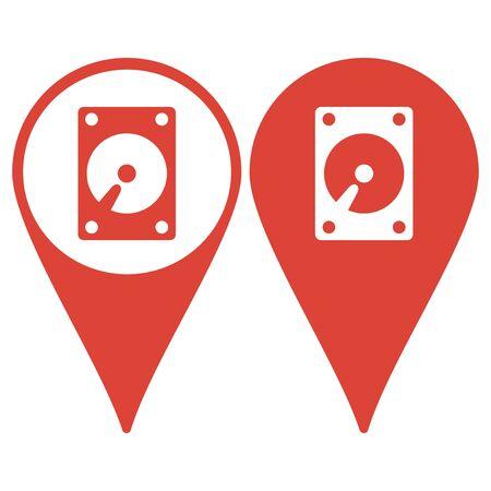 hard: Map pointer. hard disk icon. Flat design style eps 10 Illustration