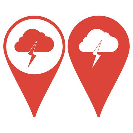 electrocute: Map pointer. Lightning bolt weather flat line icon infographic illustration template for web or brochure. Vector illustration. Illustration