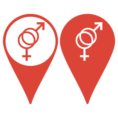 sex symbol: Map pointer. Male and female sex symbol - vector illustration.