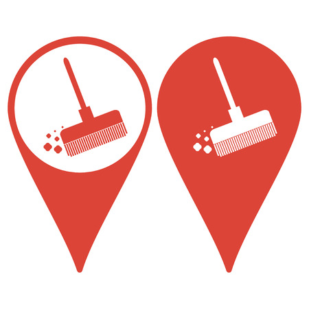 besom: Map pointer. Broom vector icon Flat design style eps 10
