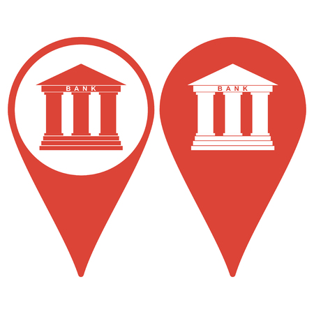 three pointer: Map pointer. Bank icon in flat style with the building facade with three pillars illustration