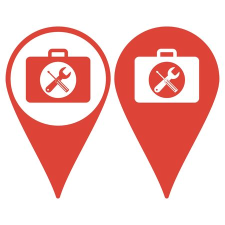 map toolkit: Map pointer. Toolbox vector icon. Flat design style eps 10