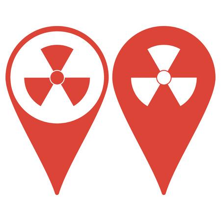 irradiation: Map pointer. radiation symbol. Flat design style eps 10