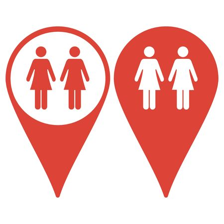 urban planning: Map pointer. couple icon,. Flat design style eps 10