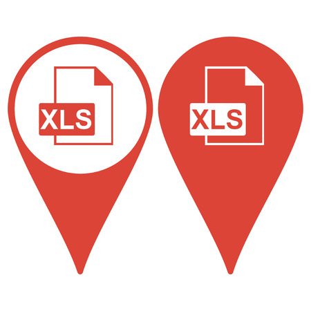 xls: Map pointer. xls icon. Flat design style eps 10 Illustration