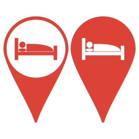 Map pointer. Sleeping symbol icon. Flat design style eps 10