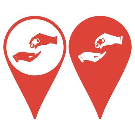 avarice: Map pointer. Flat icon, give alms,  Illustration EPS 10 Illustration