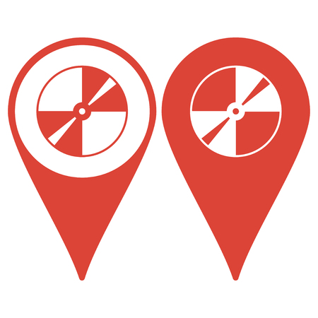recordable: Map pointer. Vector CD or DVD icon. Flat design style eps 10 Illustration