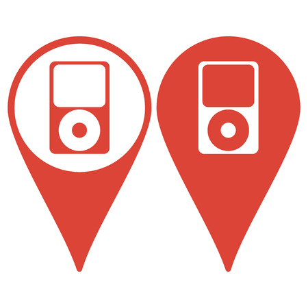 portable player: Map pointer. Portable media player icon. Flat design style. Vector EPS 10 Illustration