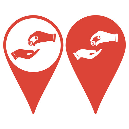 alms: Map pointer. Flat icon, give alms,  Illustration EPS 10 Illustration
