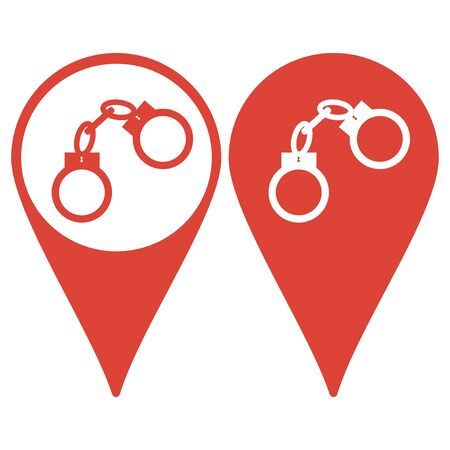 lockup: Map pointer. handcuffs icon. Flat design style eps 10