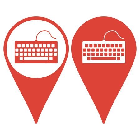 qwerty: Map pointer. keyboard icon. Flat design style eps 10