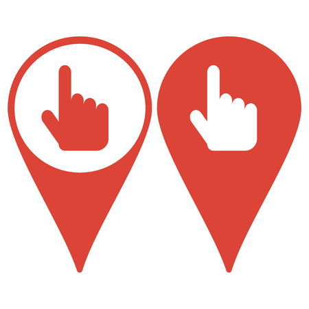 mouse pad: Map pointer. Sign emblem vector illustration. Hand with touching a button or pointing finger