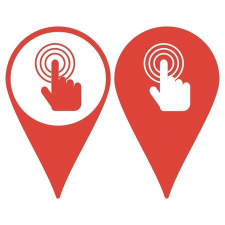 fingerprinting: Map pointer. Sign emblem vector illustration. Hand with touching a button or pointing finger