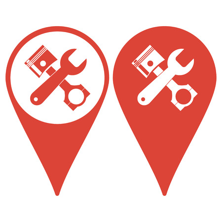 simbol: Map pointer. Service simbol. Repair singn. Vector flat Illustration Illustration