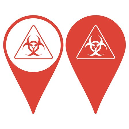 infectious waste: Map pointer. Vector biohazard sign or icon, flat Illustration Illustration