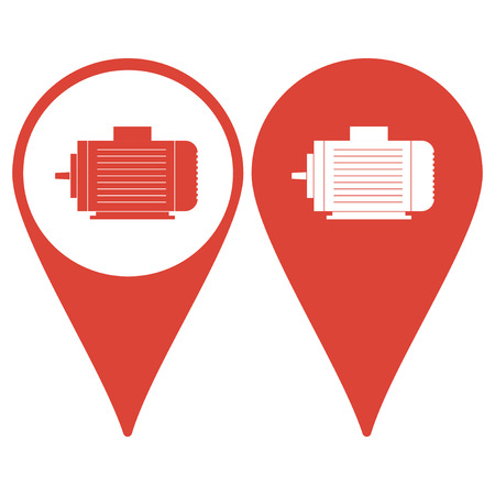 electric motor: Map pointer. Electric motor icon, Vector flat Illustration EPS
