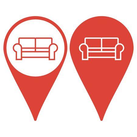 comfortable: Comfortable sofa Icons. Flat design style eps 10