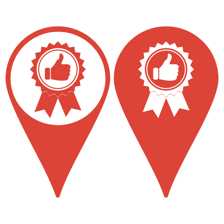 medal like: Map pointer with medallion icon Illustration