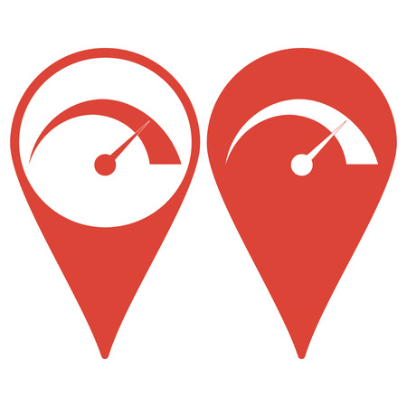 Map pointer with speedometer icon