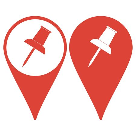 push pin icon: Map pointer with push pin icon