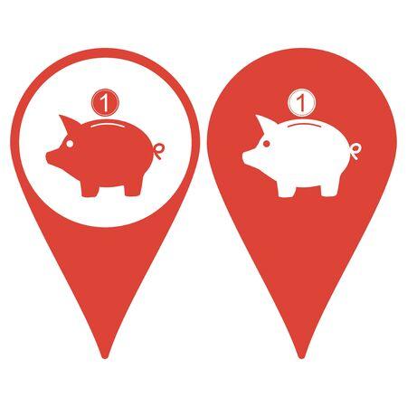 signo de pesos: Puntero del mapa con el icono de la hucha