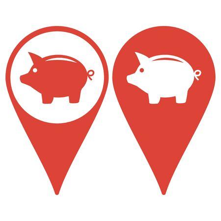 dolar: Puntero del mapa con el icono de la hucha