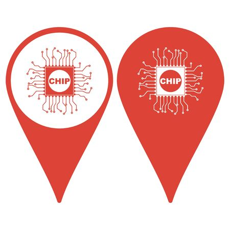 microelectronics: Map pointer with chip icon Illustration
