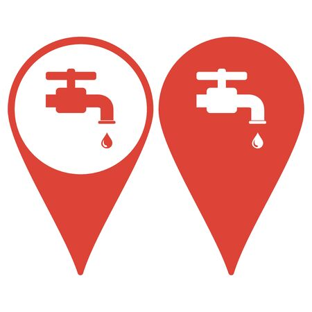 economize: Map pointer with water Tap icon