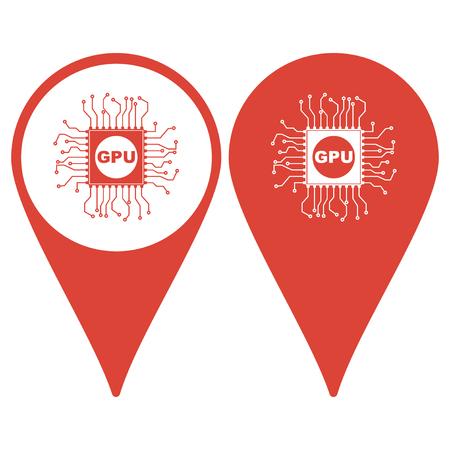 gpu: Map pointer. Circuit board  icon. Technology scheme square symbol. Illustration