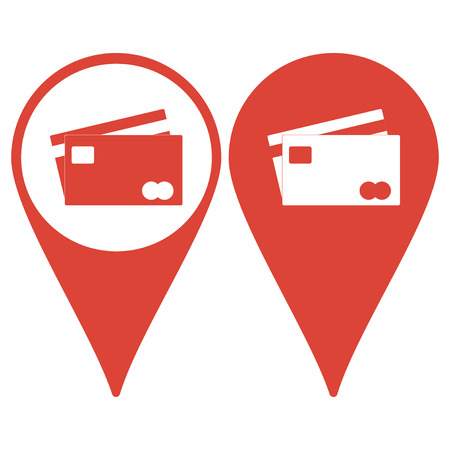 transact: Map pointer with Credit Card Icon Illustration
