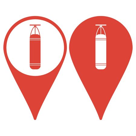 punching: Map pointer with a punching bag icon